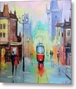Walk In Prague Metal Print