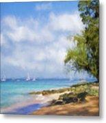 Walking Along The Beach, Holetown, Barbados Metal Print