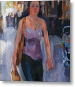 Walking Down Bleeker Street Metal Print