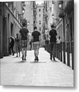 Walking In Barcelona Metal Print