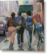Walking In Chelsea Metal Print