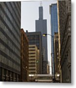 Walking In Chicago Metal Print