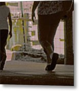 Walking In Construction Zone Metal Print