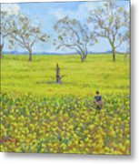 Walking In The Mustard Field Metal Print