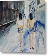 Walking In The Street Metal Print