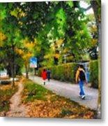 Walking On A Beautiful Path Metal Print