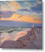 Walking On The Beach At Sunset Metal Print