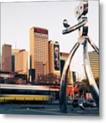 Walking Tall Traveling Man - Dallas Texas Skyline Metal Print