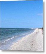 Walking The Beach At Sanibel. Metal Print