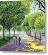Walking The Mall Metal Print