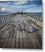 Walking The Pier Metal Print