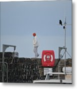 Walking The Pier Wall Metal Print