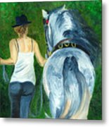 Walking To The Stable Metal Print
