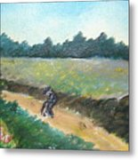 Walking To Town Metal Print
