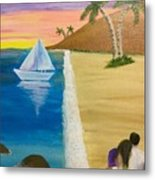 Walking With You On Beach Metal Print