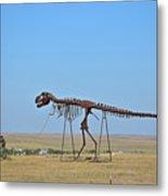 Walking Your T-rex Metal Print