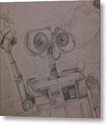 Wall-e With Plant Metal Print