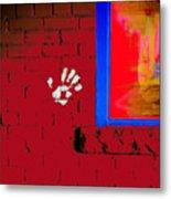Wall Hand Face Metal Print