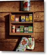 Wall Spice Rack - Americana Kitchen Art Decor - Vintage Spice Cans Tins - Nostalgic Spice Rack Metal Print