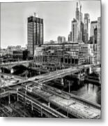 Walnut Street City View In Black And White Metal Print