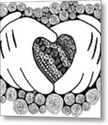 Walt Disney's Mickey Mouse Inspired Hands And Heart Metal Print