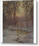 Walter Launt Palmer 1854-1932 Winter Stream At Sunset Metal Print