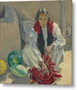 Walter Ufer 1876-1936 Stringing Chili Peppers Metal Print