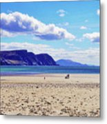 Wandering On The Beach Under The Clouds Metal Print
