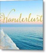 Wanderlust, Santorini Greece Ocean Coastal Sentiment Art Metal Print