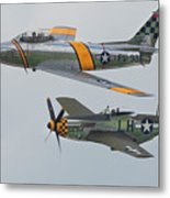 Warbirds Heritage F-86 Sabre And P-51 Mustang Metal Print