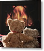 Warm And Cosy Teddies By The Fireside Metal Print