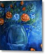 Warm Blue Floral Embrace Painting Metal Print