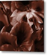 Warm Tone Monochrome Floral Art Metal Print