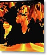 Warming World Map Metal Print