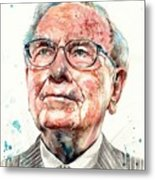 Warren Buffett Portrait Metal Print