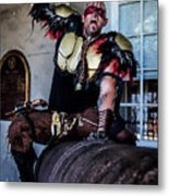 Warrior On A Cannon - New Orleans Metal Print