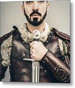 Warrior With Sword Metal Print