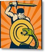 Warrior With Sword Serpent Metal Print