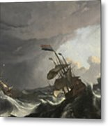 Warships In A Heavy Storm Metal Print