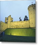 Warwick Castle At Dawn With A Man Metal Print by Richard Nowitz