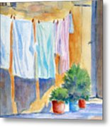 Wash Day In Marsaxlokk Metal Print