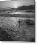 Washed Up Crab Cage 16x9 Bw Metal Print