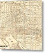 Washington Dc Antique Vintage City Map Metal Print