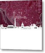 Washington Dc Skyline Map 3 Metal Print