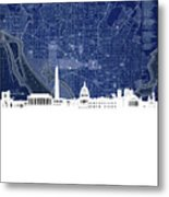 Washington Dc Skyline Map 4 Metal Print