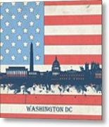 Washington Dc Skyline Usa Flag 3 Metal Print