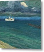 Wassily Kandinsky 1866 - 1944 Rapallo, Seascape With Steamer Metal Print