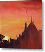 Wat Silhouette Metal Print
