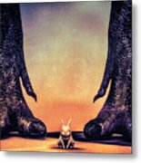 Watch Out Little Bunny Metal Print