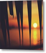 Watching Beautiful Caribbean Sunset From A Simple Beach Shack Metal Print